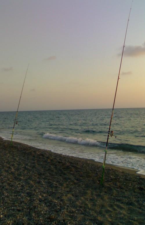 tramonto canne pesca