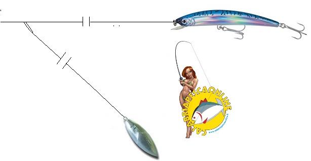 traina artificiale con piombo guardiano pesca pesce serra